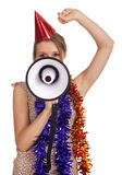 Woman in cone hat with megaphone Stock Image