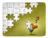 Woman confused with a piece of puzzle. Illustration of a Woman confused with a piece of puzzle Royalty Free Stock Image