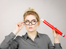 Free Woman Confused Thinking, Big Pencil In Hand Stock Photo - 96951580