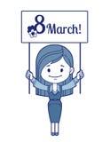 Woman congratulates March 8 Stock Photos