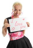 Woman congratulates with valentin's day Stock Photography