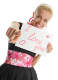 Woman congratulates with valentin's day Royalty Free Stock Images