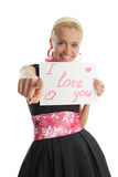 Woman congratulates with valentin's day Royalty Free Stock Photography