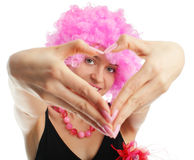 Woman congratulates with valentine's day Stock Image