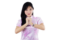 Woman with congratulation gesture stock images