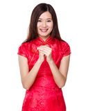 Woman with congratulation hand gesture Royalty Free Stock Photo