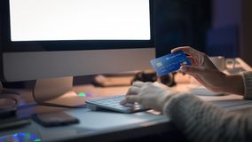 Online shopping with credit card stock photo