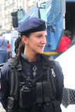 Woman constable. Looking smile outdoor at children's day in Romania Royalty Free Stock Image