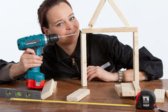 Woman constructing Royalty Free Stock Photography