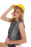 Woman construction hat hold serious Royalty Free Stock Photos