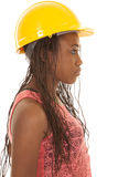 Woman with construction hat orange tank side Royalty Free Stock Photography