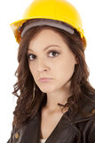 Woman construction hat sad Royalty Free Stock Photo