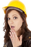 Woman construction hat shock Stock Photos