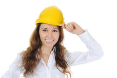 Woman with construction helmet Stock Image