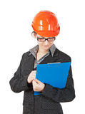 Woman in the construction helmet Stock Image