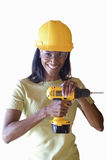 woman in construction helmet holding drill, cut out Royalty Free Stock Photo