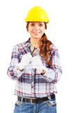 Woman in construction helmet with wrenches in the hands Stock Photos
