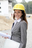 Woman on construction site Royalty Free Stock Photos