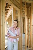 Woman on construction site. Royalty Free Stock Photography