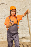 Woman construction worker Royalty Free Stock Photo