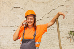 Woman construction worker Stock Photo