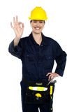 Woman construction worker at her best Stock Images