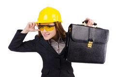 Woman construction worker isolated. On white Stock Photos