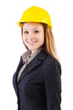 Woman construction worker isolated. On white Stock Photography