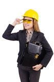 Woman construction worker isolated. On white Stock Image