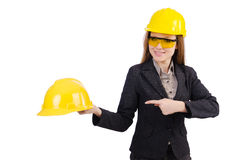 Woman construction worker isolated Stock Images