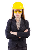 Woman construction worker isolated. On white Royalty Free Stock Photography