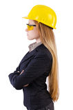 Woman construction worker isolated. On white Stock Images