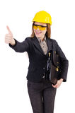 Woman construction worker isolated. On white Stock Photo