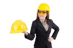 Woman construction worker isolated. On white Royalty Free Stock Photos
