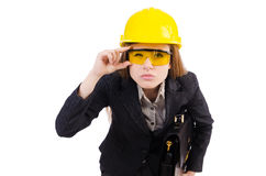 Woman construction worker isolated. On white Royalty Free Stock Photo