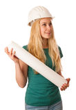Woman with constructor helmet and construction plan happy to do Stock Photo