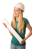 Woman with constructor helmet and construction plan happy to do Stock Images