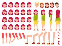 Woman Constructor, Set of Female Faces, Body Parts. Front back side view character emotions vector. Positive and negative mood, energetic and tired Royalty Free Stock Photos
