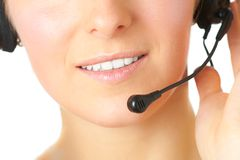 Woman consultant with headset Royalty Free Stock Photo