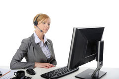 Woman consultant with headset Royalty Free Stock Image