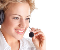 Woman consultant with headset and mic Stock Images
