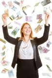 Woman content of the rain made of money Royalty Free Stock Photo