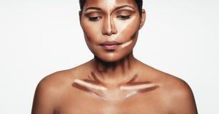 Woman with contour and highlight makeup Stock Photos