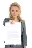 Woman with contract Royalty Free Stock Images