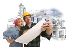 Woman with Contractor Over House Drawing and Photo on White Stock Image