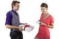Woman Controlling Boyfriend Stock Image
