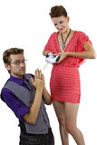 Woman Controlling Boyfriend Royalty Free Stock Images