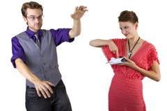 Woman Controlling Boyfriend Stock Images