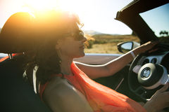Woman in convertible Royalty Free Stock Image