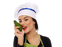 Woman cook with avocado Stock Photo